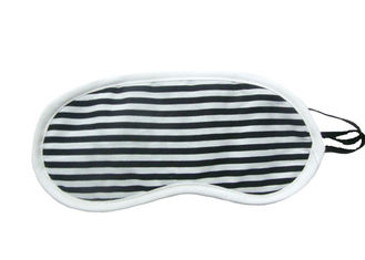 China Black White Stripes Night Travel Eye Cover With Firm Knitted Fabric Material supplier