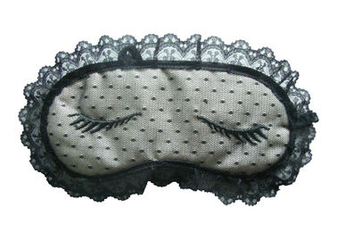China Customized Decorated sleep eyewear Made Of Lace And Satin With Woven Label supplier