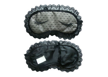 China Black Fashion Lace Sleep Blindfold Eye Mask With Embroidery Pattern For Ladies supplier