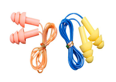 China 3.1g / Pair Tree Shape Sound Proof Ear Plug Silicone With Plastic Cord supplier