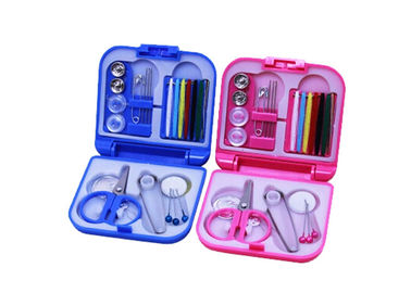 China Portable Pink Blue Color Travel Sewing Kits With Folding Plastic Case supplier