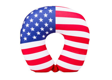China Personalized US Flag Airplane Neck Pillow , U Shaped Neck Pillow For Travel supplier