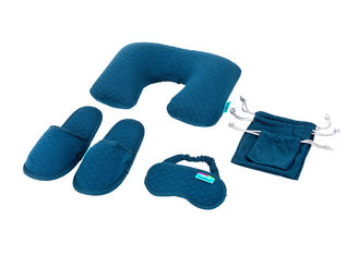 China Simple Airplane Travel Kits Inflatable Neck Pillow Eye Mask Closed toe Slippers and Single Pouches supplier