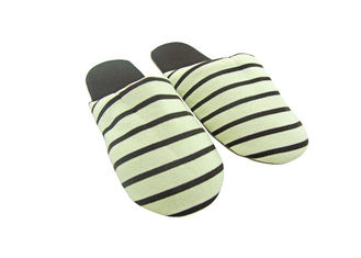 China Coffee Color Soft Stripes Disposable Hotel Slippers With Suede Fabric Outsole Indoor supplier