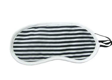 China Black White Stripes Night Travel Eye Cover With Firm Knitted Fabric Material factory