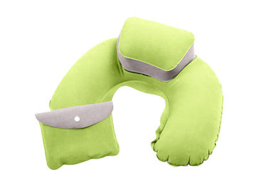 Comfortable Inflatable Travel Neck Pillow PVC Flocking Material With Pouch