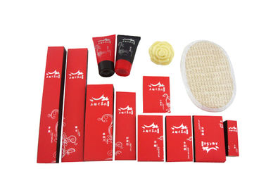 Disposable Hotel Amenities Set , Hotel Room Amenities Red Black Color 14 Items