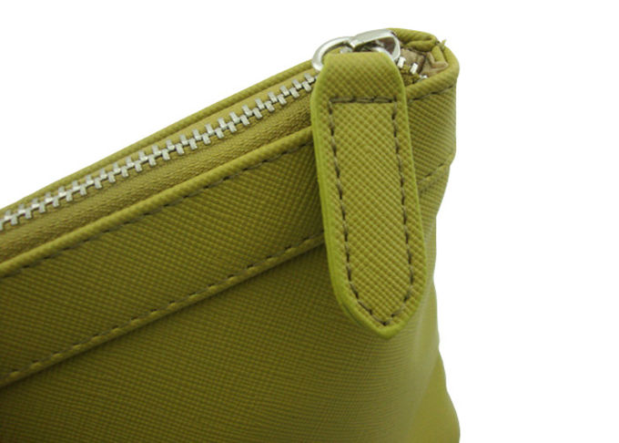 Eco-friendly Yellow Travel Accessory Bag Firm PU Material Cosmetic Bag