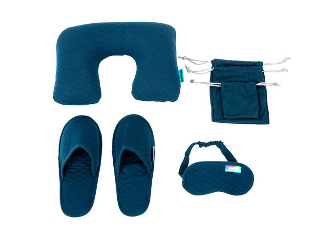 Simple Airplane Travel Kits Inflatable Neck Pillow Eye Mask Closed toe Slippers and Single Pouches