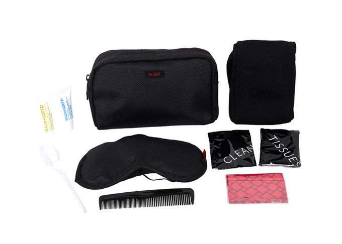 Practical Airline Amenity Kits Oxford Fabric Material Small Travel Kit Black Color