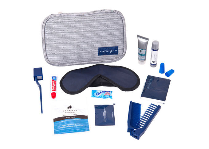 Foldable Zipper Pouch Airline Amenity Kits For Business Trip Air Travel Set
