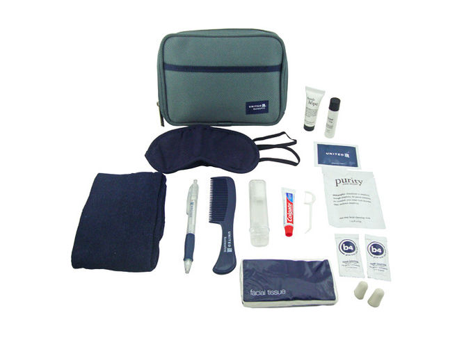 Mens Travel Airline Amenity Kits With Big Diagonal Oxford Fabric Bag