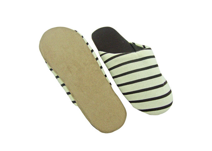 Coffee Color Soft Stripes Disposable Hotel Slippers With Suede Fabric Outsole Indoor