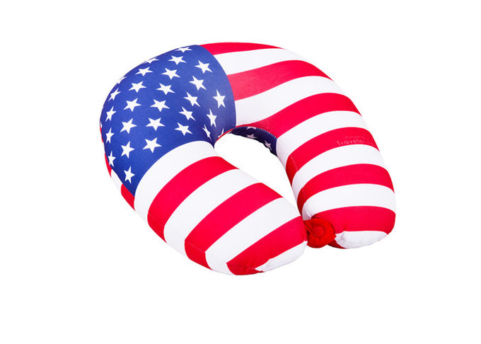 Personalized US Flag Airplane Neck Pillow , U Shaped Neck Pillow For Travel